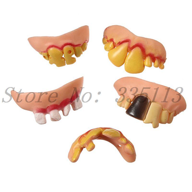 New 2014 Hot Selling 5Pcs/Set Fake Joke Teeth False Rotten Tooth Dentures Party Fancy Halloween Joker Supplies Free Shipping(China (Mainland))