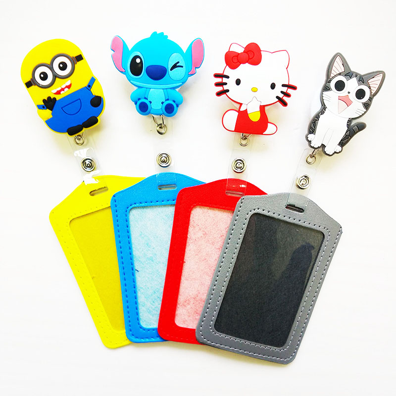Silicone card case holder Bank Credit Card Holders Card Bus ID Holders Identity Badge with Cartoon Retractable Reel PY012(China (Mainland))
