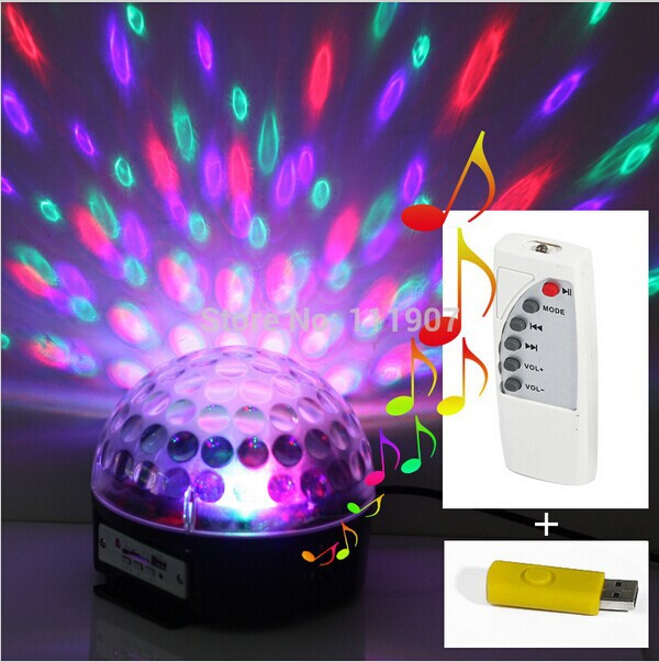 Newest Digital LED RGB Crystal Magic Ball Effect Light DMX Disco DJ Stage Lighting Lamp Free shipping+(USB flash driver as Gift)(China (Mainland))