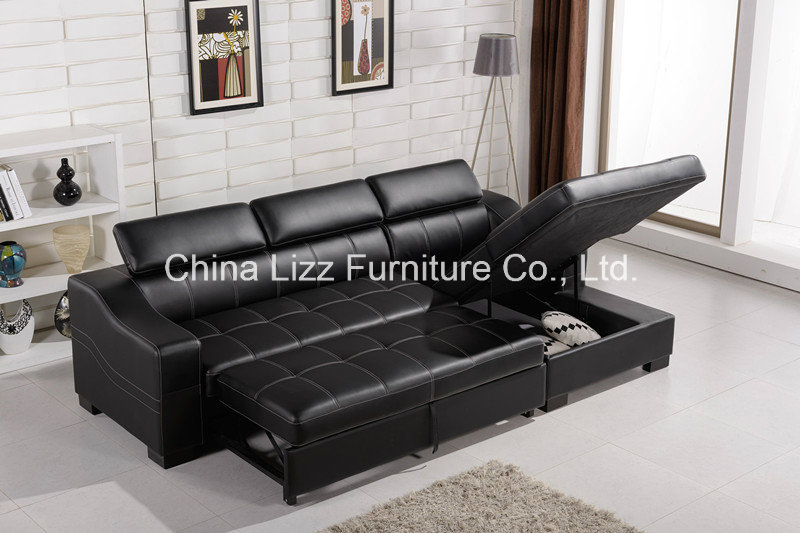 Lizz modern style top genuine leather corner sofa bed - Sofas piel moderno ...