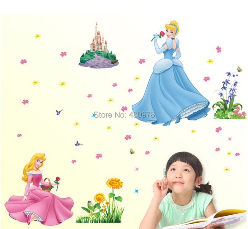 Hot Sell Removable Cartoon Wallpaper Snow White Princess Wall Stickers Home Decor For Kids Rooms DLX130(China (Mainland))