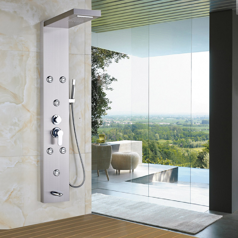 Wall Mounted Bathroom Shower Panel Waterfall Rainfall Shower Massage System Brushed Nickel with Hand Shower(China (Mainland))