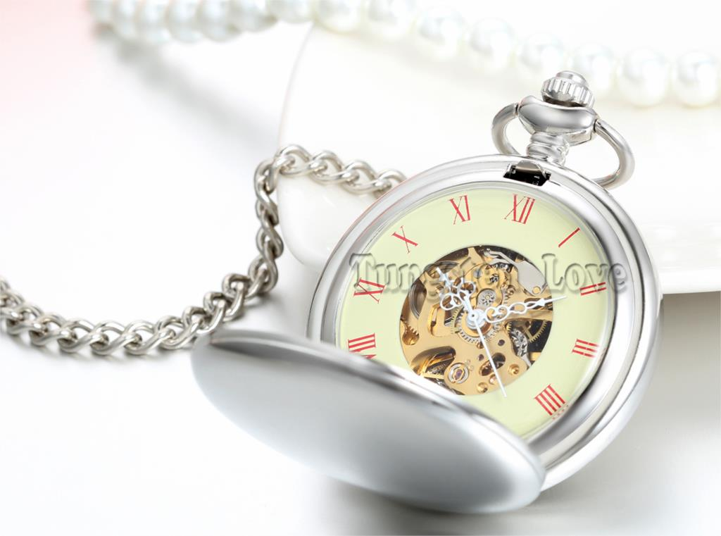 Antique Alloy Simple Silver Roman Numeral Hand Wind Mechanical Pocket Watch Long Chain 37cm Value Quality relogio de bolso(China (Mainland))