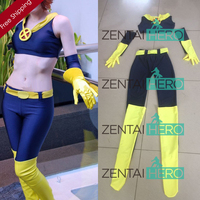 Free Shipping DHL NEW X- Men Jean Grey Costume Navy Lycra Spandex Phoenix Superhero Cosplay Costume For 2017 Halloween XMJG101