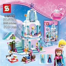 314pcs SY373 Girl Friends Minifigure Elsa's Sparkling Ice Castle Anna Elsa Queen Kristoff Olaf Building Toy Compatible With Lego(China (Mainland))