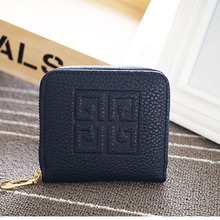 New Fashion Women Lady Litchi PU Leather Zipper Hasp Short Clutch Wallet Coin Purses ID Card