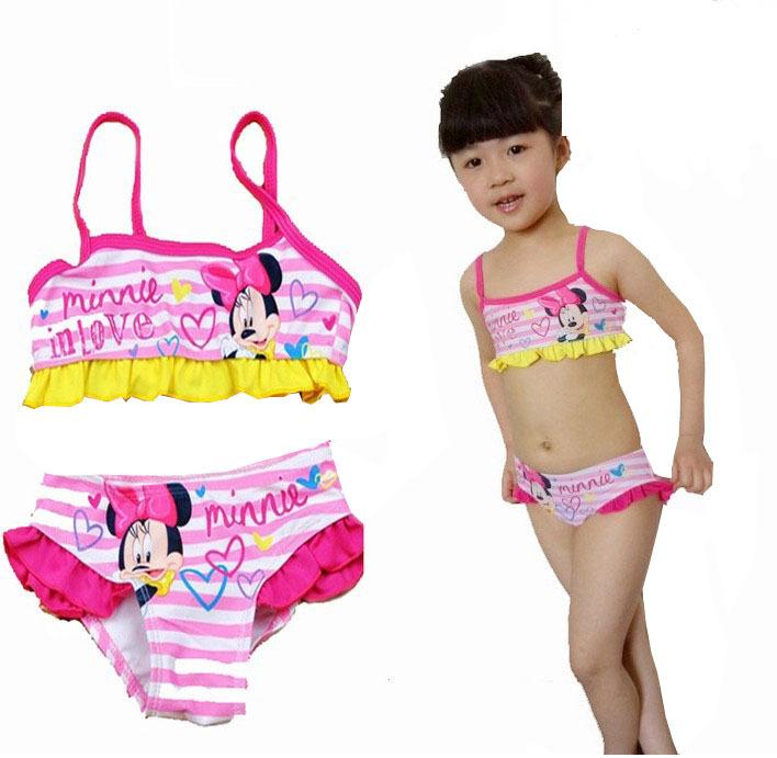 Retail cartoon kids split swimsuit swimwear children bikini girls - Every day fortune store