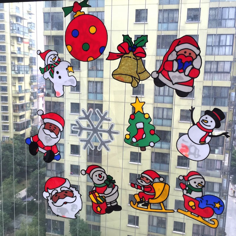 christmas jelly sticker windows glass cabinet wall