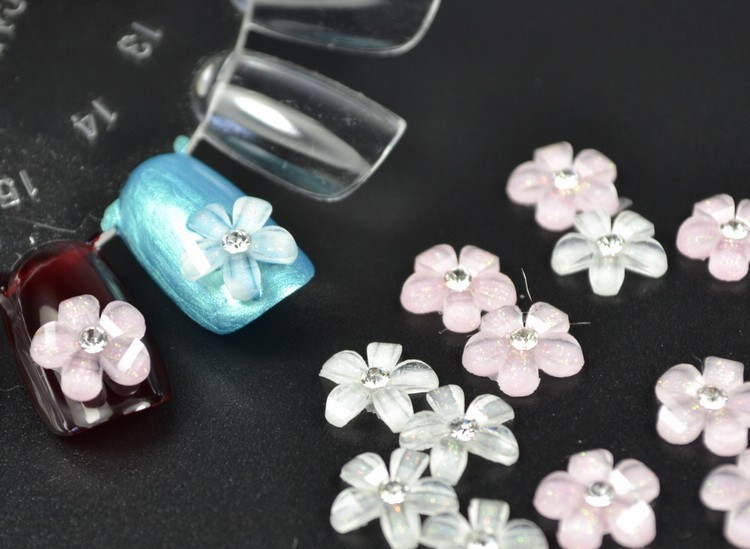 20pcs set white pink flowers nail art decoration acrylic for Acrylic nail decoration supplies