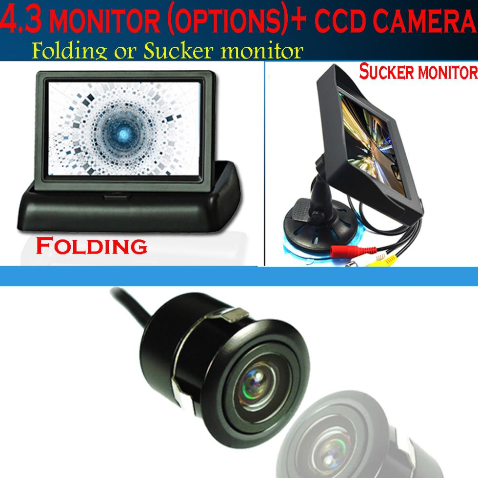 4.3 Digital TFT LCD folding or sucker Car Parking Monitor ccd Car Rear front reversing Camera waterproof 18.5 hole wire wireless(China (Mainland))