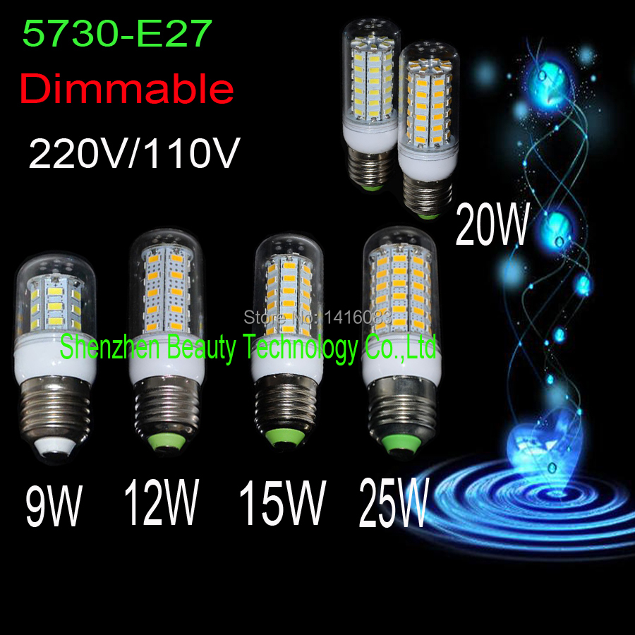 ONER Brand dimmable bombillas led bulb corn lamp e27 220V 110V 230V 240V 130V 9W 12W 15W 20W 25W use smd 5730 high brightness(China (Mainland))
