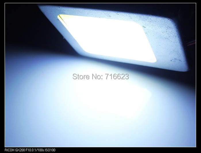 80X 6W Panel Reading Interior Light Adapter Dome T10 194 W5W Bulb LED Car COB 48 Chip Festoon 12V White with Aluminum parking