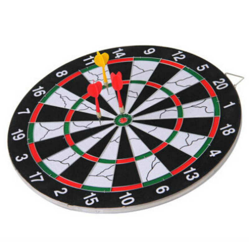 Home Entertainment 15 Inches Darts Boards Two-sided Dartboard Set + 6 Pieces Plastic Darts
