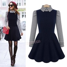 New Fashion Women Ladies Long Sleeve Turn Down Collar Dress Casual Splicing Party Dress Fall Winter Bottoming Dresses(China (Mainland))
