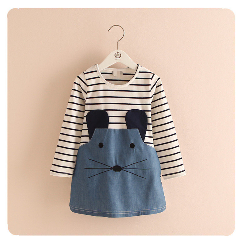 Retail 2-7Y Spring And Autumn New Children Clothing Striped Patchwork Character Baby Girls Dress Denim Long Sleeve Girls Dress(China (Mainland))