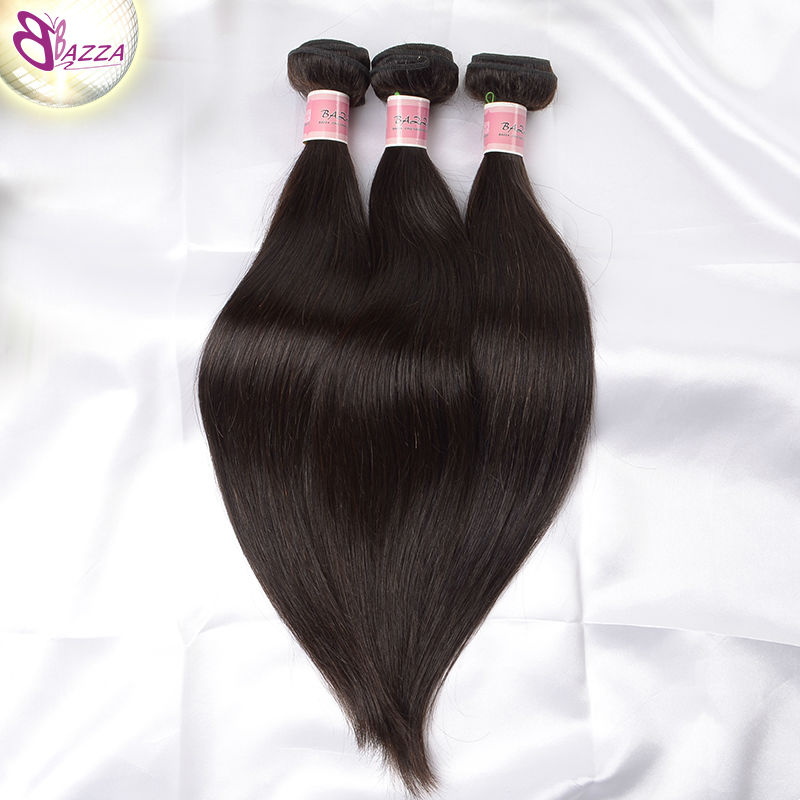 BAZZA 100% human hair weave straight 5pcs wholesale Natural color thick bottom no dry unprocessed virgin straight brazilian hair(China (Mainland))
