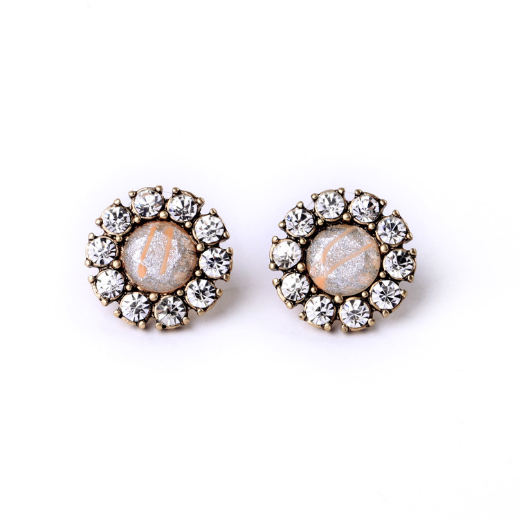 2015 Exquisite New Design Pink Created Crystal Flower Stud Earrings For Women Earrings Fashion Summer Ear Jewelry Brincos Gifts(China (Mainland))