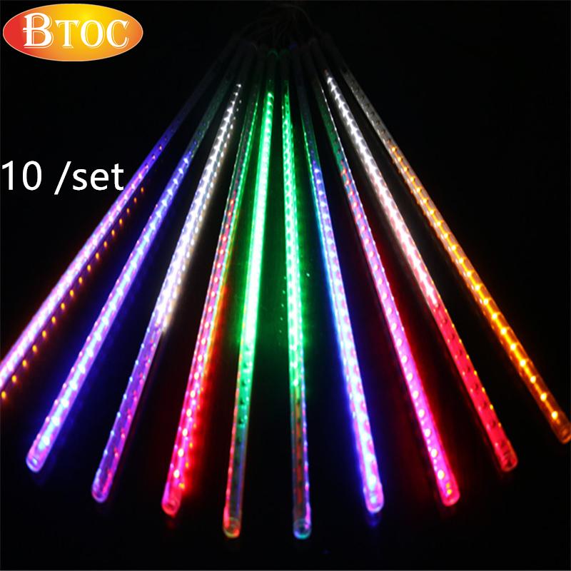 10 pcs /set 50cm SMD 5050 480 LED Meteor rain light color lamp Hanging on a tree rain tubes LED Outdoor decorative lamp new(China (Mainland))