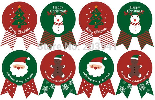 100Pcs Christmas Tree Badge Design DIY Multifunction Seal Sticker Gift Label