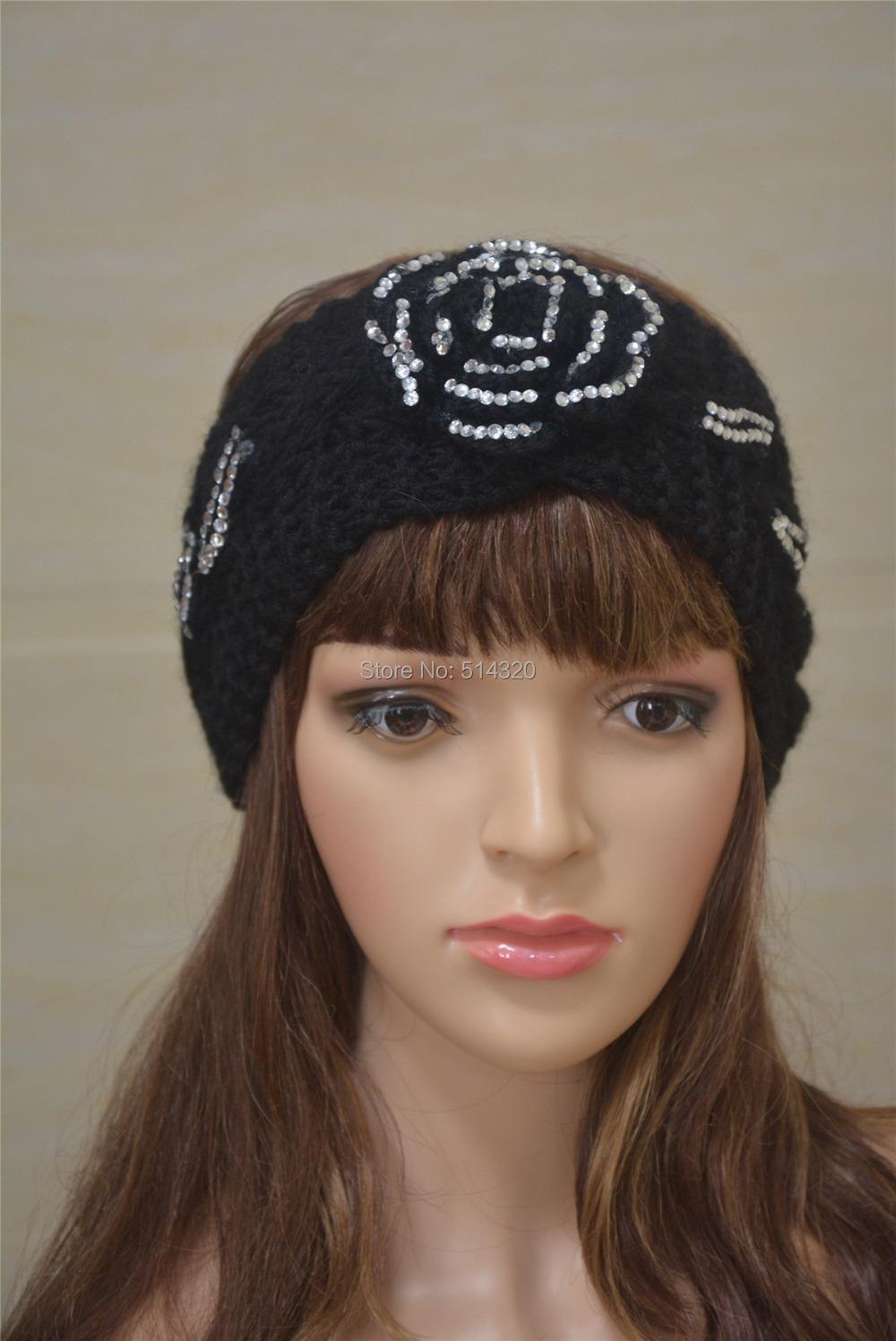 A098 Black Womens Rhinestone Flower trimme Headband HAIRBAND STRETCH Ear Warmer(China (Mainland))