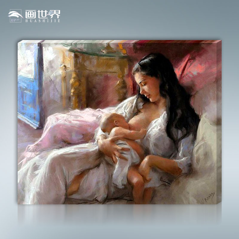 Frameless picture on wall acrylic painting by numbers abstract drawing by numbers unique gift coloring by numbers mom and baby(China (Mainland))