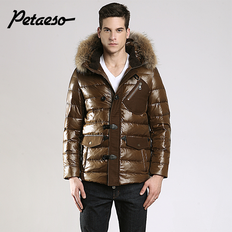 fashion brand men's casual long goose fur collar men increased bright jacket coat M-XXL - best price execllent service store