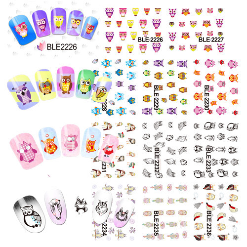 11 DESIGNS IN 1 Water Transfer Nail Sticker Decals Cartoon Owl Design Stylish Nail Tip Wraps Nail Decoration Tools #BLE2226-2236(China (Mainland))