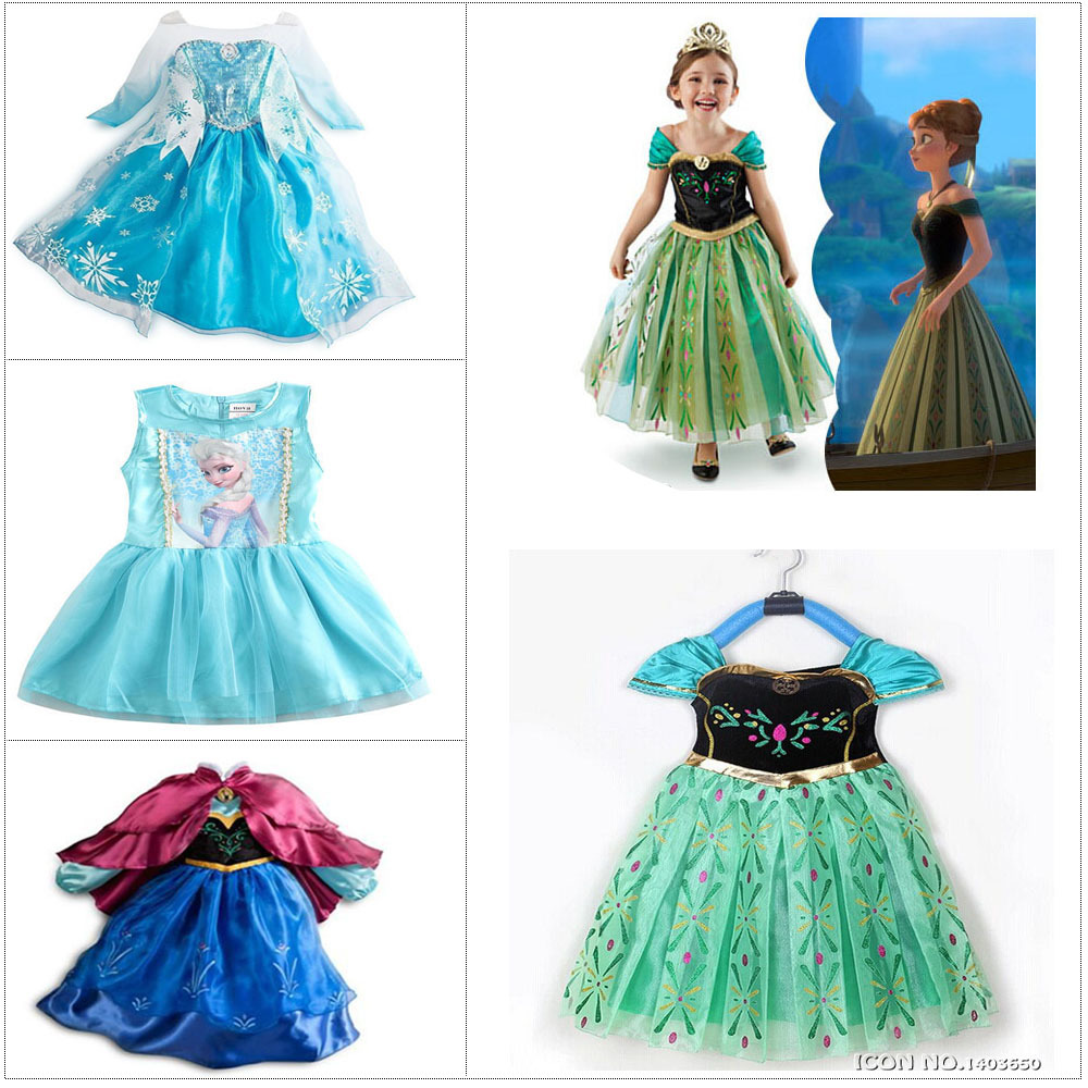 2015 HOT Girls Elsa Princess Dress Costume Cartoon Cloth Kids Summer Vestidos Cartoon Cloth Anna Cosplay