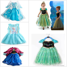 New Mixstyle Elsa Princess Dress Anna Cosplay Costume Clothe Fashion Cartoon Dress  Free Shiping Crown Can Choose HOT DCR02m