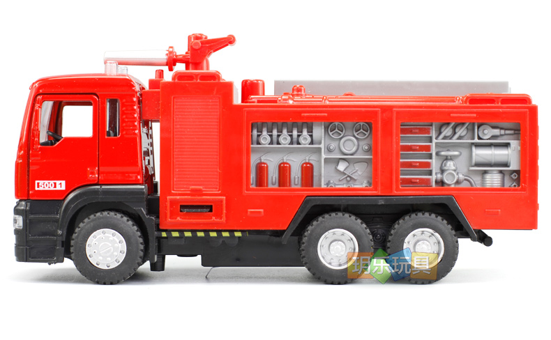 Water tank fire rescue car alloy engineering vehicle fire truck car model sound and light back power 5001 boxed(China (Mainland))