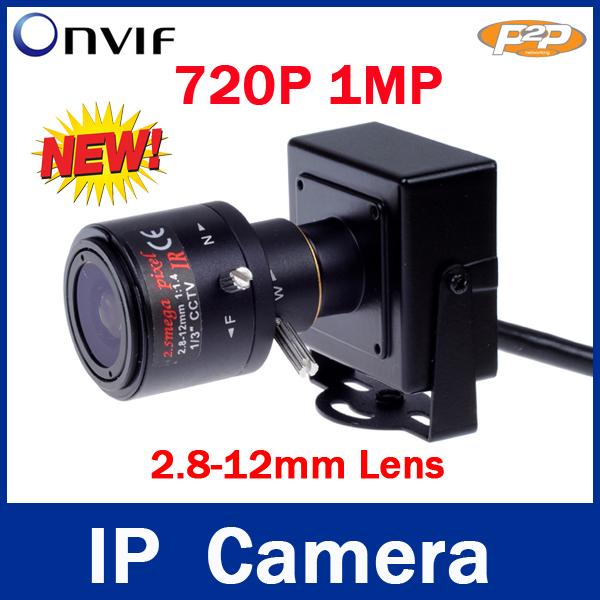 1280 * 720P 1.0MP mini IP Camera ONVIF 2.0 2.8-12mm manual varifocal zoom lens P2P Plug and Play With bracket(China (Mainland))