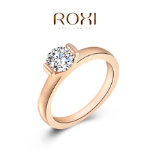 Roxi Fashion Royal Women's Jewelry High Quality Engagement Style Ring Rose Gold Plated Top Rich Austrian Crystals