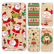 New Christmas Santa Claus Girl Case for iphone 6 6s Plus 6Plus 5 5s SE transparent soft silicone Protector Cover fundas bag capa(China (Mainland))