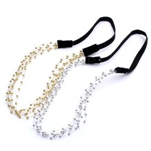 New Fashion 2Pcs Bohemian Women Headband Pearl Head Jewelry Handmade Gold Silver Tone Beads Chain Piece Strap Hair Accessories(China (Mainland))
