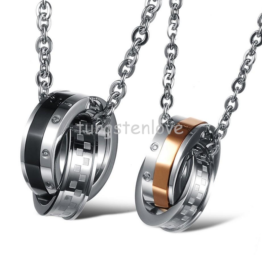 """Men Women Stainless Steel Cz Interlocking Double Circle Linked Pendant Necklace For Couples 20"""" Chain Included (with Gift Bag)(China (Mainland))"""