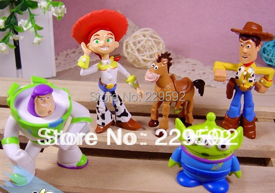 New 5 pcs TOY STORY 3 BUZZ LIGHTYEAR WOODY Figures SET Free shipping& Wholesale(China (Mainland))