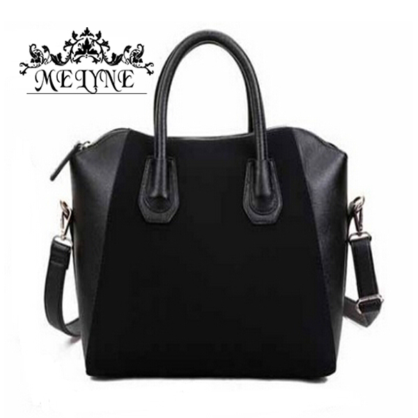 Hot Sale! Bag fashion bags 2015 patchwork nubuck leather women's handbag smiley shoulder bags free shipping(China (Mainland))