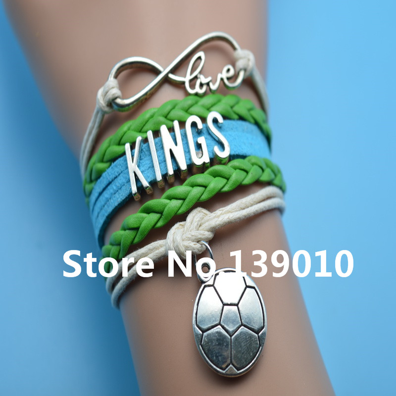 Infinity Love Kings Football Charm Bracelet Grean Blue Beige Leather Rope Cuff Customize Men Basketball West Team Sports Bangles(China (Mainland))