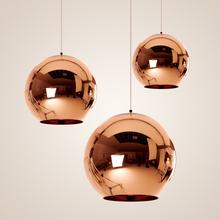 Wonderland Modern Copper Sliver Shade Mirror Chandelier Light E27 Bulb LED Pendant Lamp Modern Christmas Glass Ball Lighting(China (Mainland))