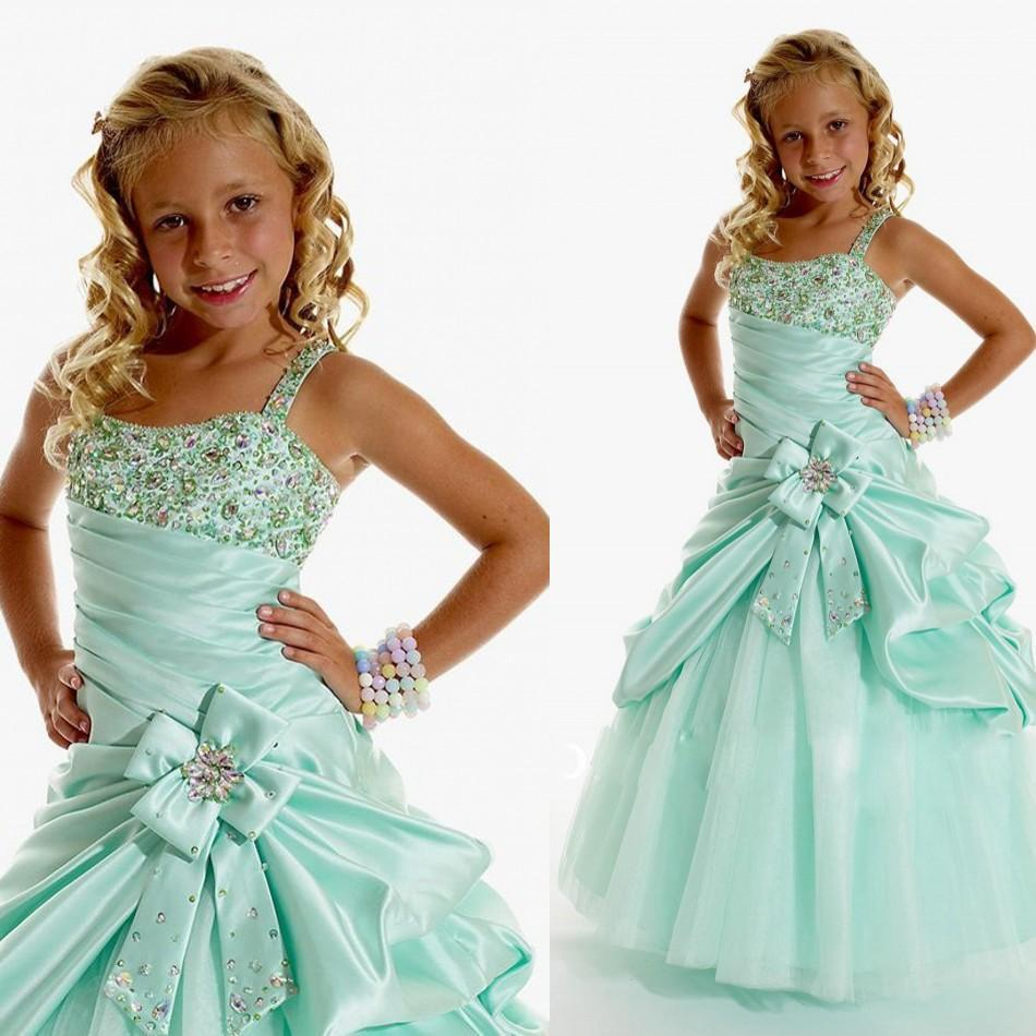 Free shipping 2015 New Mint Green Flower Girl Dresses Spaghetti Beads Bow Ruched Ball Gown Organza Long Cheap CustomMadeIn stock(China (Mainland))