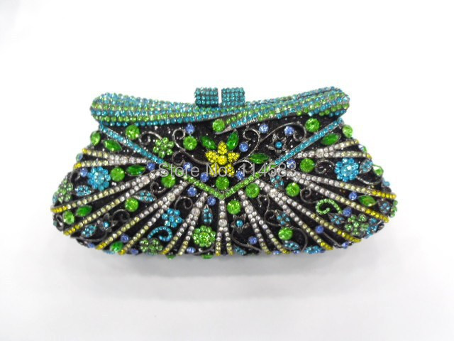 Фотография 8248C multi-color Crystal Flower Floral Bridal Party hollow Metal Evening purse clutch bag handbag case