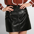 Shelikeit Fashion Plus size XXXXL 2016 autumn and winter new Women Skirts PU leather skirt Femininas