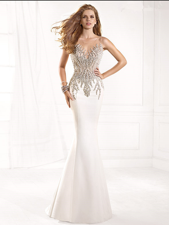 Collection White Evening Dresses Long Pictures - Reikian