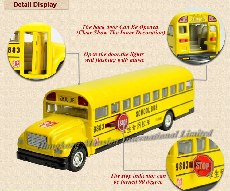 1:32 Scale Alloy Diecast Metal School Bus Car Model For BLUE BIRD Collection Model Pull Back Toys With Sound&Light - Style 2(China (Mainland))