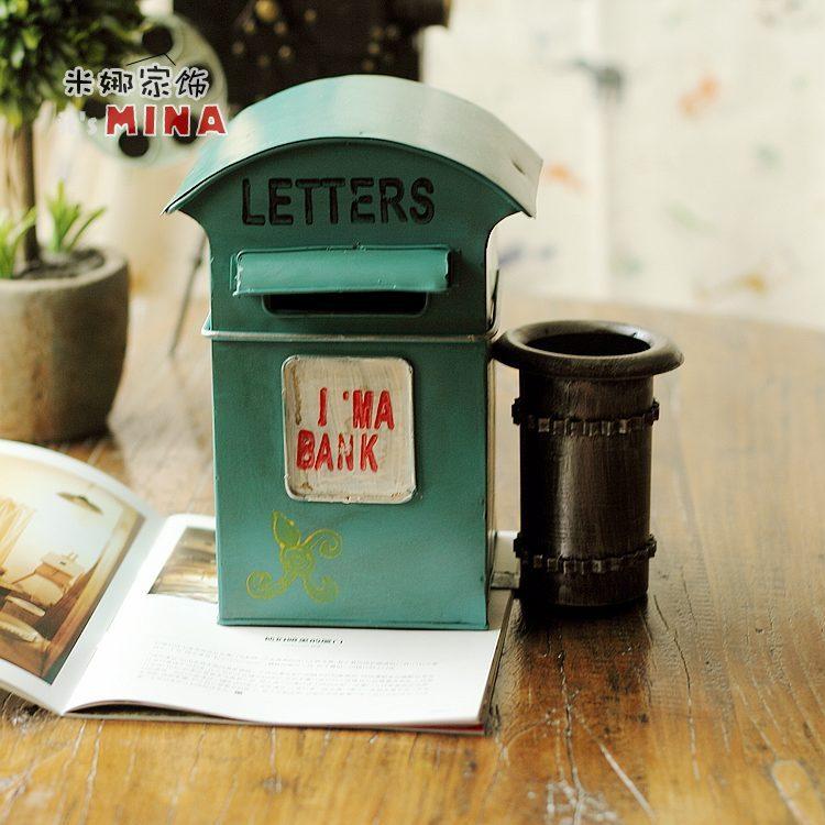 Retro nostalgia iron iron box Home Furnishing display mailbox(China (Mainland))