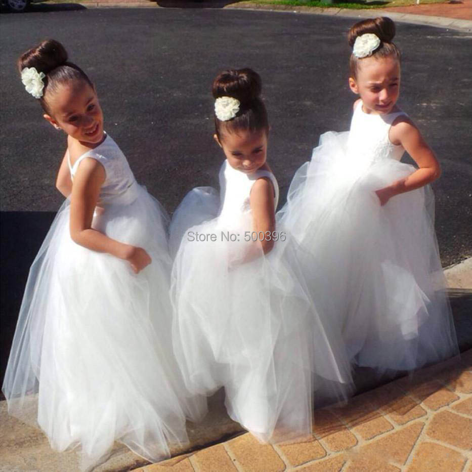 White ball gown flower girl dresses 2016 long formal dress for Little flower girl wedding dresses