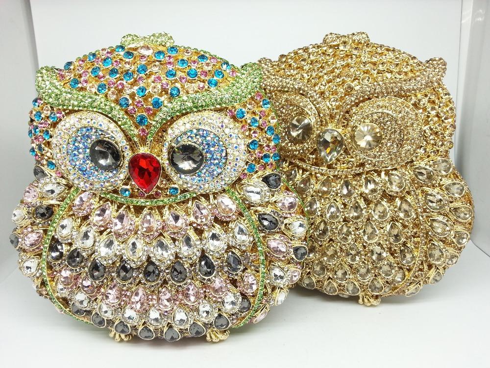 Bling Bling Women Crystal Bags Lady Wedding Bridesmaid Handbag Banquet Clutch Bag Rhinestone Owl Blue Metal Prom Clutch Purses<br><br>Aliexpress