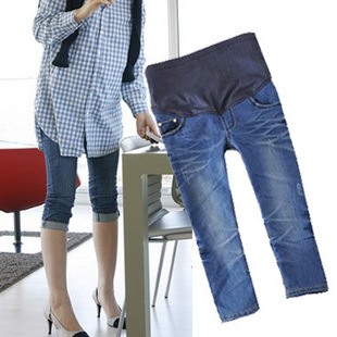 2012 new SUMMER elastic soft adjustable maternity  blue jeans pregant woman 7 pants abdominal turnup trousers belly pants