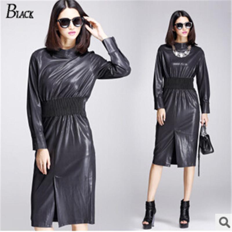 HQ Fall Winter Fashion Women Classic Dress Ladies PU Dress Leather long Sleeve Sexy Party Women's casual knee-length Dress Black(China (Mainland))