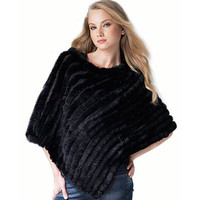 Ladies' Genuine Real Knitted Rabbit Fur Shawls Wraps Winter Women Fur Pashmina Poncho Female Pullover Outerwear Coats QD0645